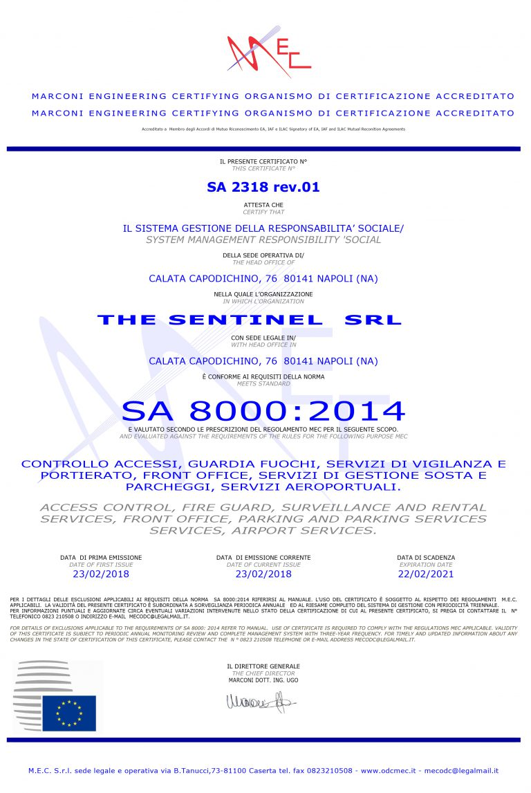 Attestato SA 8000 THE SENTINEL n. SA8T2318 rev.01